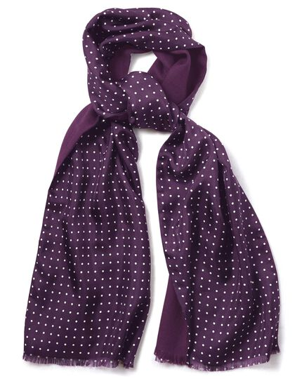 Purple spot print wool and silk scarf