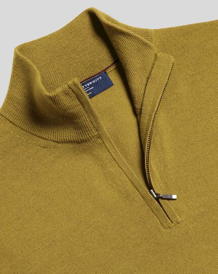 Merino Zip Neck Sweater - Chartreuse