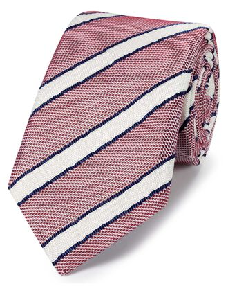 Red and blue silk mix grenadine stripe Italian luxury tie