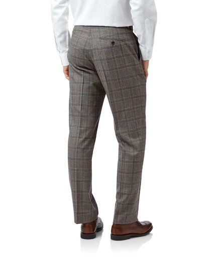 Costume de luxe en tissu britannique gris à carreaux Prince de Galles coupe droite