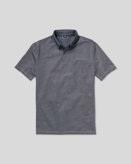 Spot Jacquard Polo - Navy & White