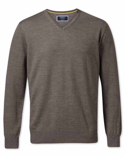 Mocha merino wool v-neck jumper