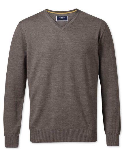 Mocha merino wool v-neck sweater