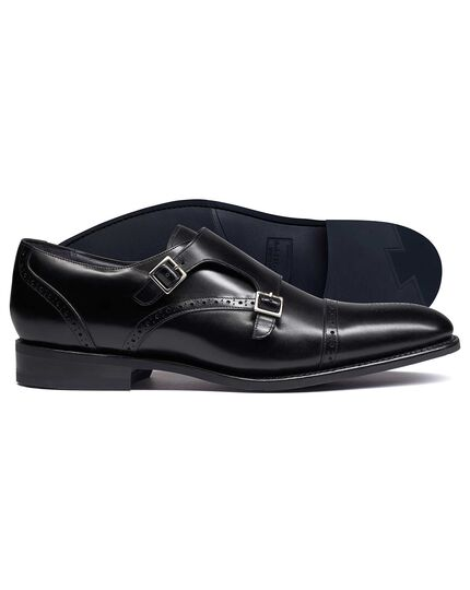 Black Goodyear welted double buckle monk performance shoes