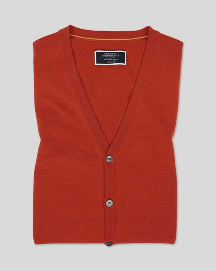 Merino Sweater Vest - Orange