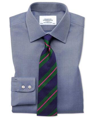Slim Fit Kavallerie-Twill Hemd aus ägyptischer Baumwolle in Marineblau