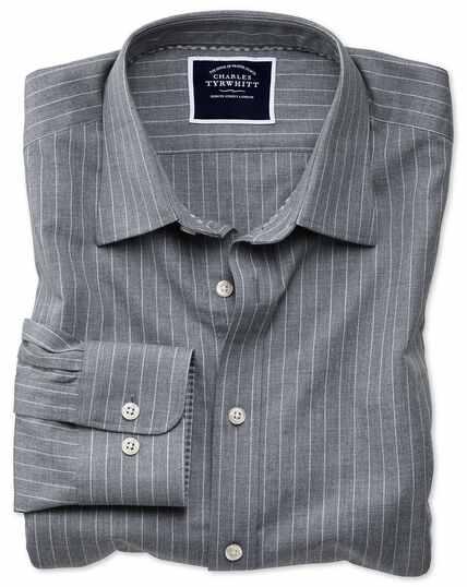 Classic fit grey stripe soft textured shirt