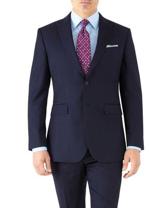 Slim Fit Business Anzug Sakko aus Twill mit Spitzrevers in Marineblau