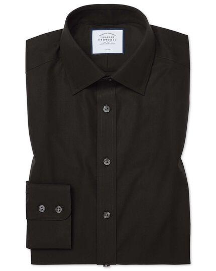 Bügelfreies Classic Fit Popeline-Hemd in Schwarz