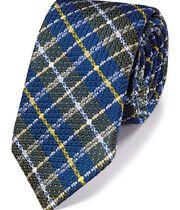 Navy multi silk mix grenadine check Italian luxury tie