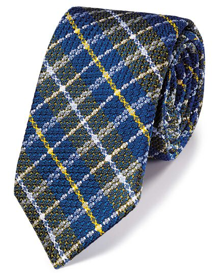 Navy multi silk mix grenadine check Italian luxury tie