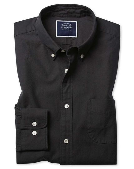 Slim fit button-down washed Oxford charcoal shirt