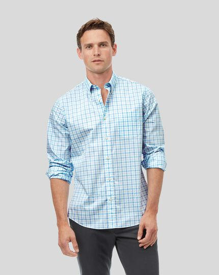 Button-Down Collar Soft Washed Stretch Poplin Check Shirt - Green & Sky