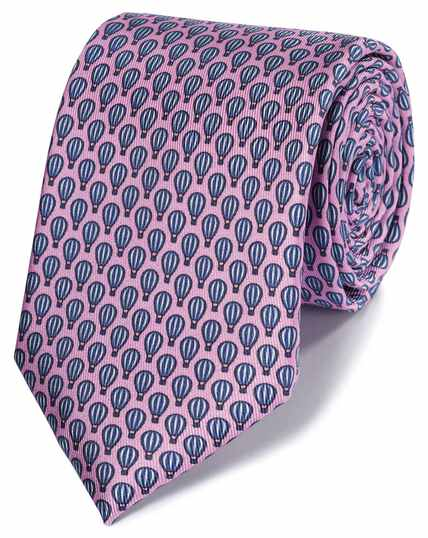 Pink and navy hot air balloon print classic tie
