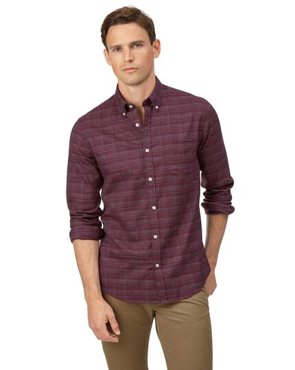 Extra slim fit soft washed non-iron twill berry grid check shirt