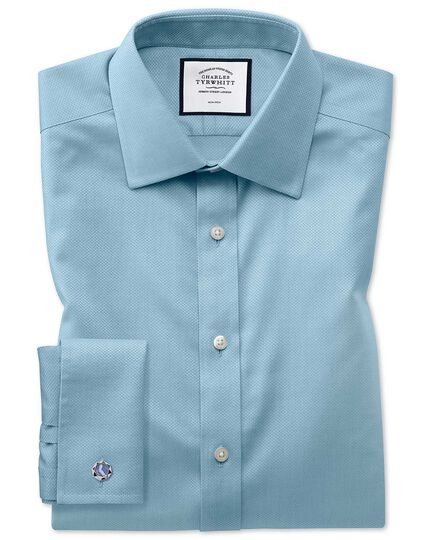 Classic fit non-iron teal triangle weave shirt