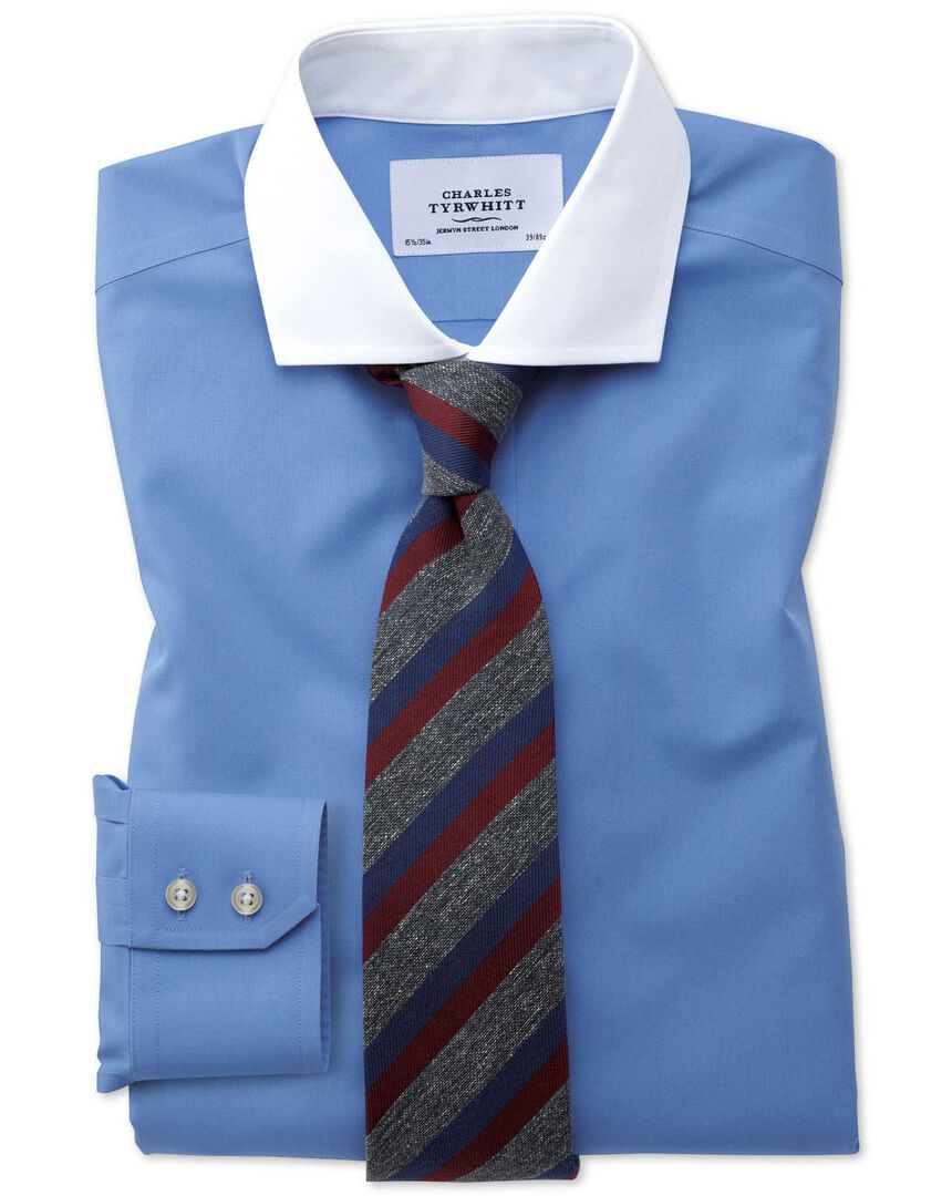 Slim fit spread collar non-iron Winchester blue shirt