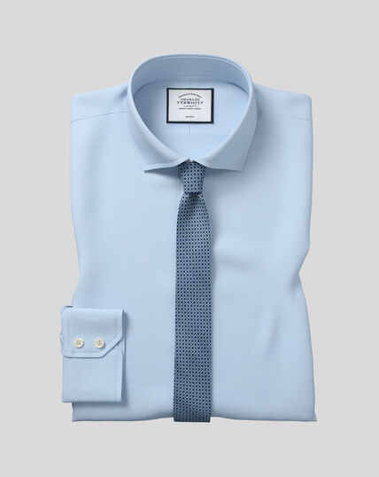 Chemise en popeline à col cutaway sans repassage  - Bleu ciel