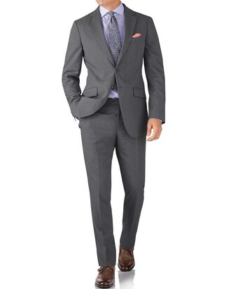 Silver slim fit crepe business suit