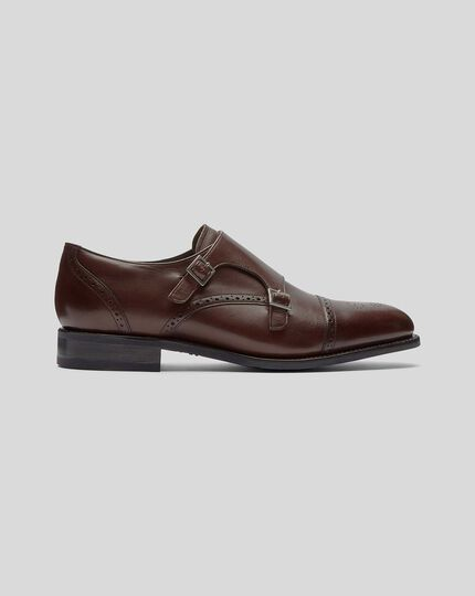 Goodyear Welted Double Buckle Monk Performance Shoe - Chocolate