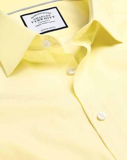 Popeline-Hemd aus ägyptischer Baumwolle mit Semi-Haifischkragen - Gelb
