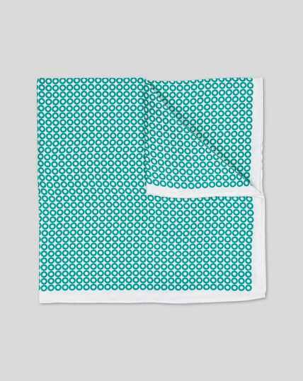 Hoop Print Pocket Square - Aqua