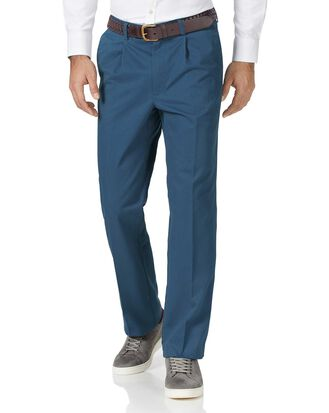 Pantalon chino délavé bleu vif à pinces simples coupe droite