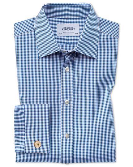 Classic Fit Hemd in Marineblau mit kleinen Gingham-Karos