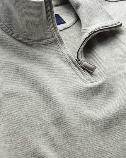 Light grey half zip jersey sweater