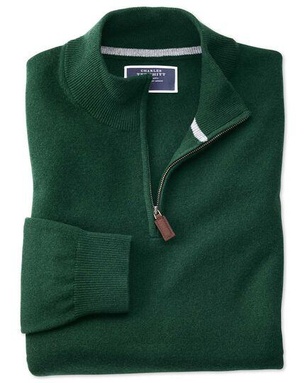 Green zip neck cashmere sweater