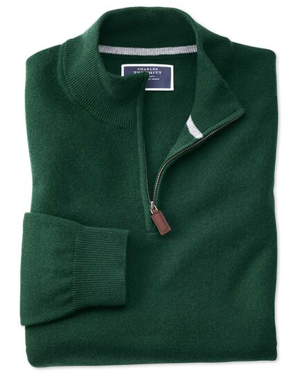 Green zip neck cashmere jumper