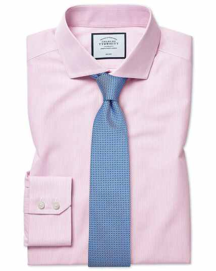 Extra slim fit non-iron Tyrwhitt Cool poplin pink stripe shirt