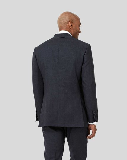 Semi-Plain Suit Jacket - Navy