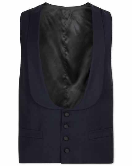 Navy adjustable fit shawl collar tuxedo waistcoat