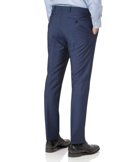 Blue slim fit Italian wool luxury suit trousers