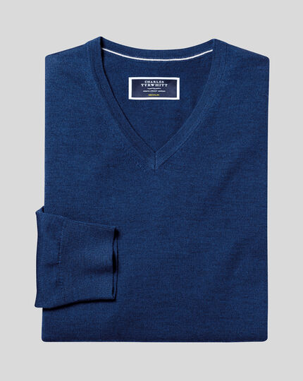 Merino V-neck Sweater - Royal Blue