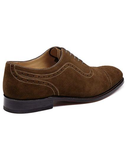 Parker Budapester Oxford-Schuh mit Zehenkappe aus Veloursleder in Braun
