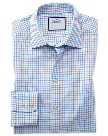 Slim fit Egyptian cotton poplin check purple and aqua shirt
