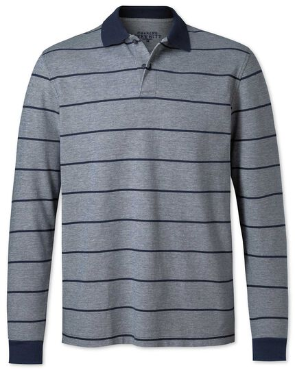 Navy stripe long sleeve Oxford pique polo
