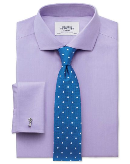 Extra slim fit cutaway collar non-iron twill lilac shirt
