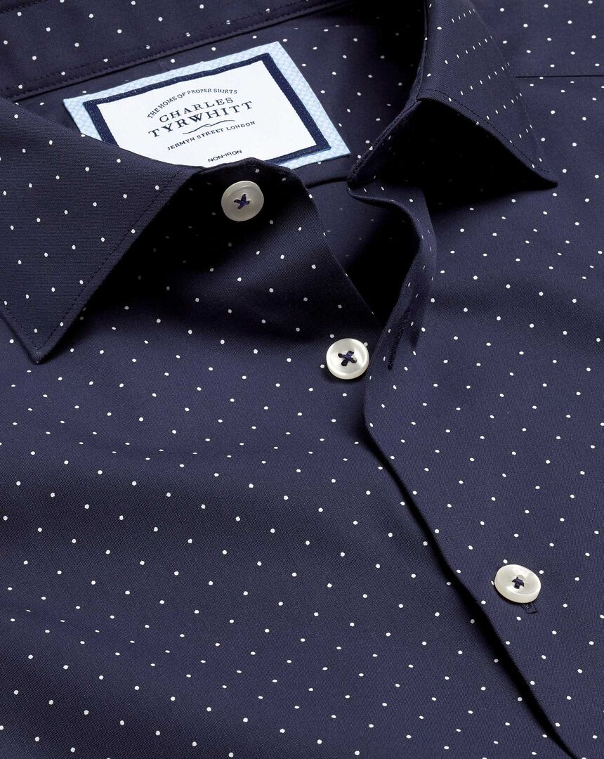 Business Casual Collar Spot Printed Shirt - Navy