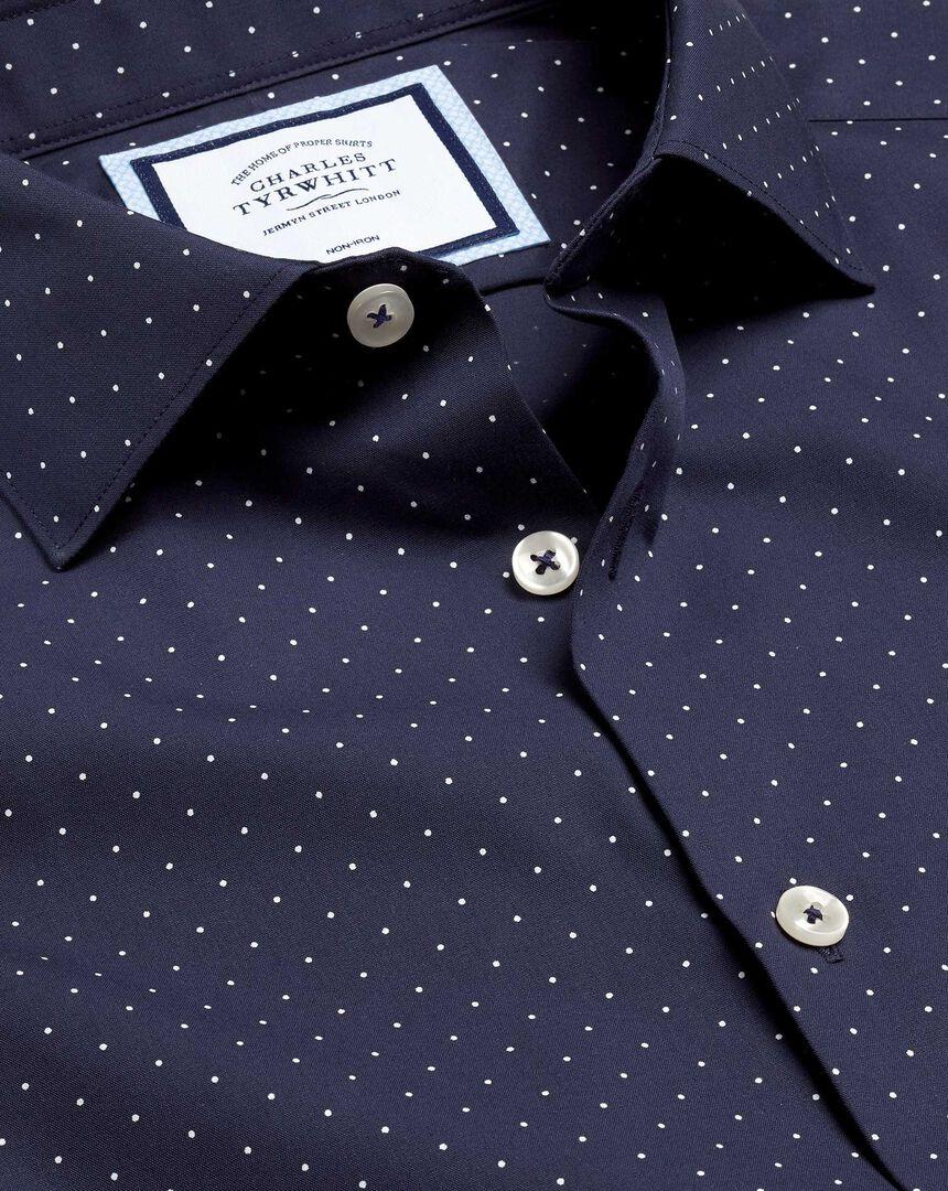 Smart Casual Collar Non-Iron Spot Printed Shirt - Navy