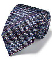 Cravate de luxe en tissu anglais multicolore à motif tirets et géométriques
