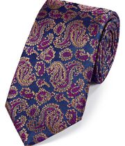 Brown silk woven paisley English luxury tie