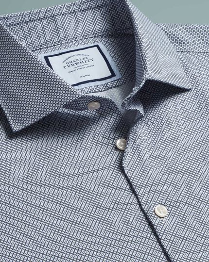Super slim fit non-iron circle print navy shirt