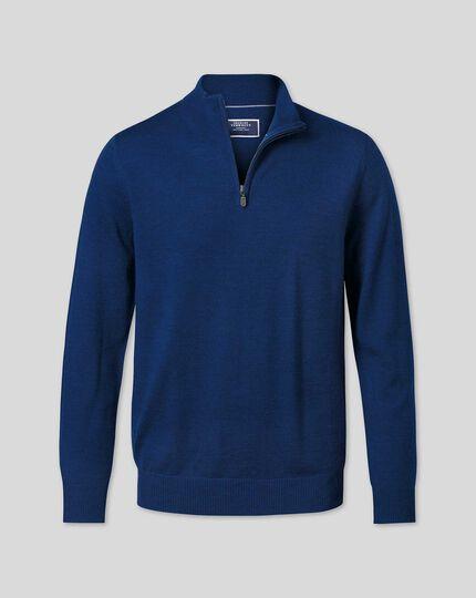 Pull en laine mérinos à col camionneur - Bleu roi