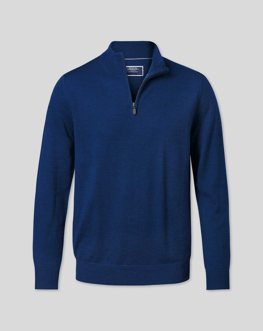 Merino Zip Neck Sweater - Royal Blue