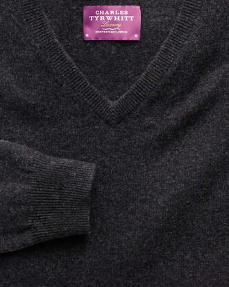 Charcoal cashmere v-neck sweater
