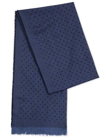 Navy spot merino scarf
