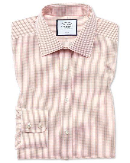 Classic fit non-iron twill mini grid check orange shirt